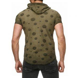 ανδρικά μπλουζάκια με κουκούλα χακί