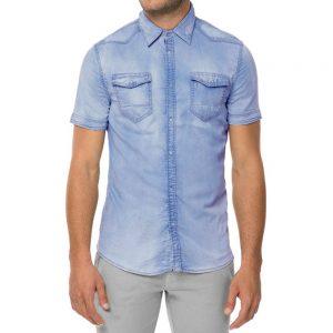 Ανδρικό κοντομάνικο τζιν πουκάμισο